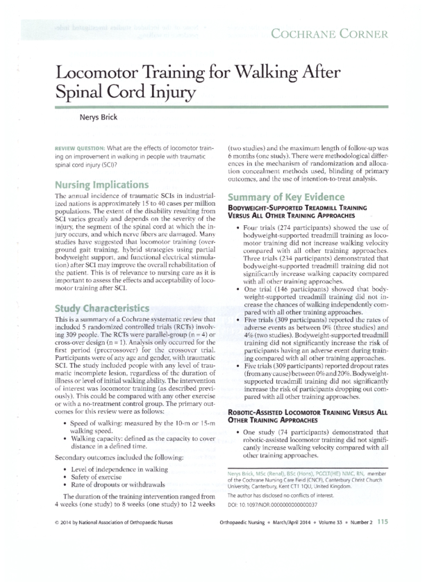 Locomotor training for walking after spinal cord injury