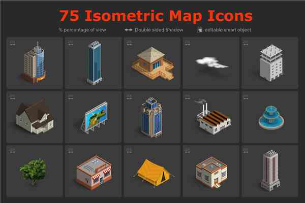 $ Isometric Map Icons