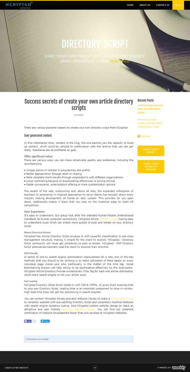 directoryscript.weebly.com/blog/success-secrets-of-create-your-own-article-directory-scripts