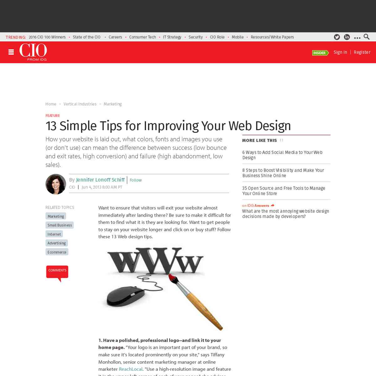 13 Simple Tips for Improving Your Web Design | CIO