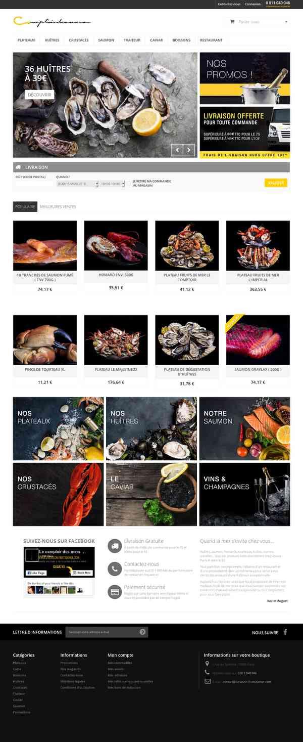 Comptoir des mers - Livraison fruits de mer Paris et 92 - Le comptoir des mers