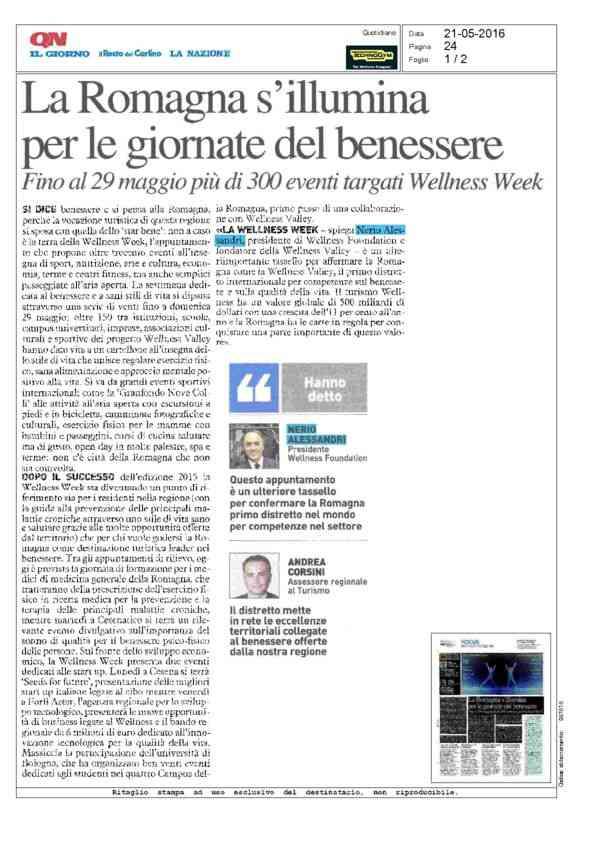 La Romagna s'illumina per le giornate del benessere - Il Resto sel Carlino - 21/05/2016