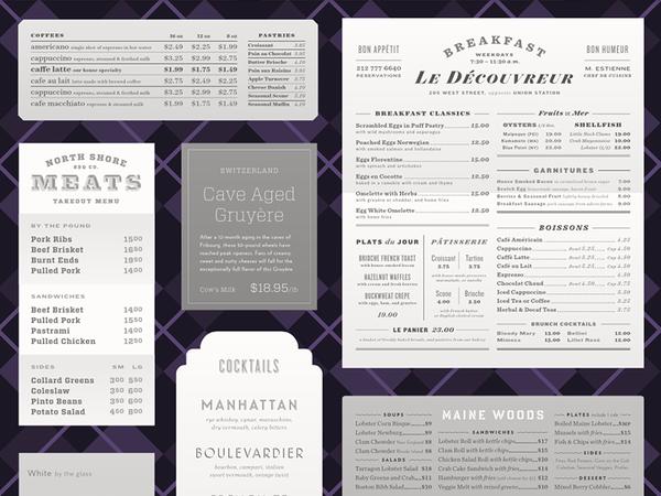 H&FJ typographic menus