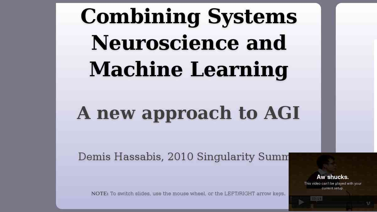 Systems Neuroscience and Machine Learning (Demis Hassabis, 2010)
