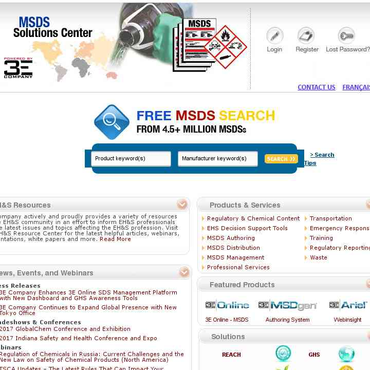  The Material Safety and Data Solutions Sheet (MSDS) Center
