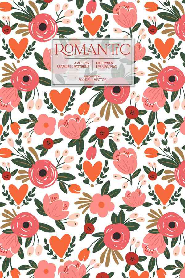 ROMANTIC flower vector pattern