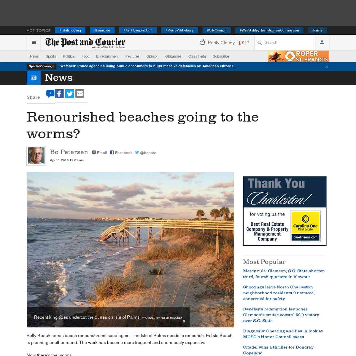 Renourished beaches going to the worms?