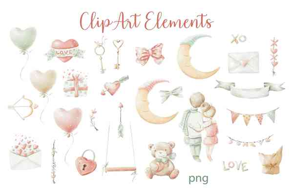 Valentine's Day Watercolor Clipart Set