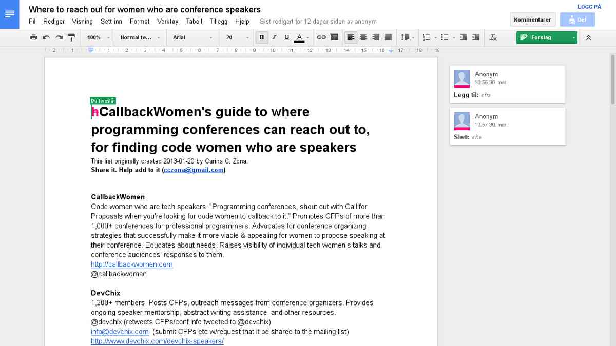 Where to find women to reach out to for Ruby/Python conference speakers - Google Drive