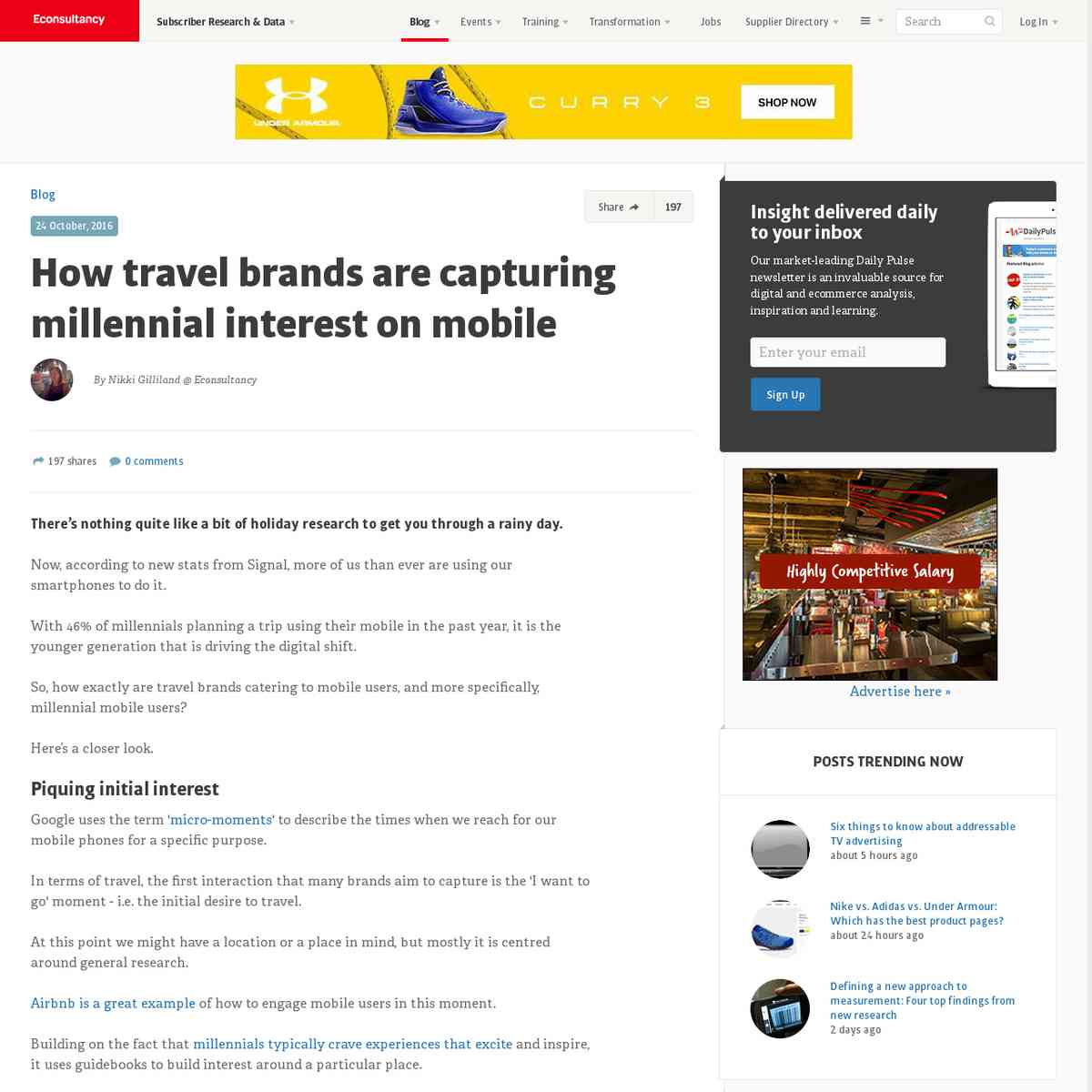 How travel brands are capturing millennial interest on mobile | Econsultancy
