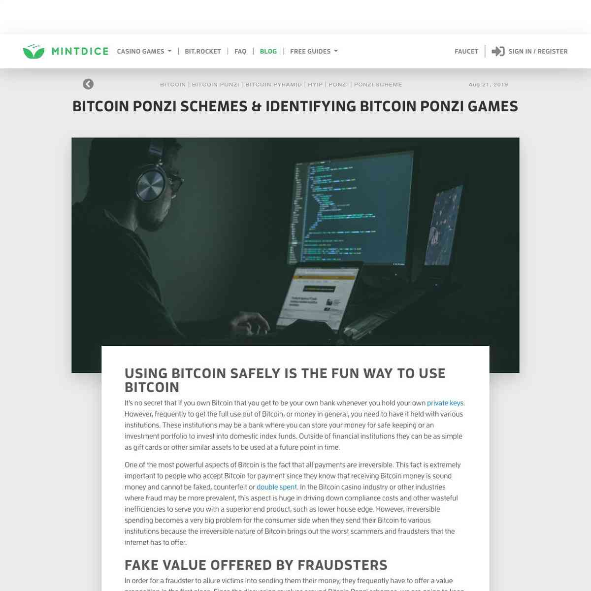 Bitcoin Ponzi Schemes & Identifying Bitcoin Ponzi Games