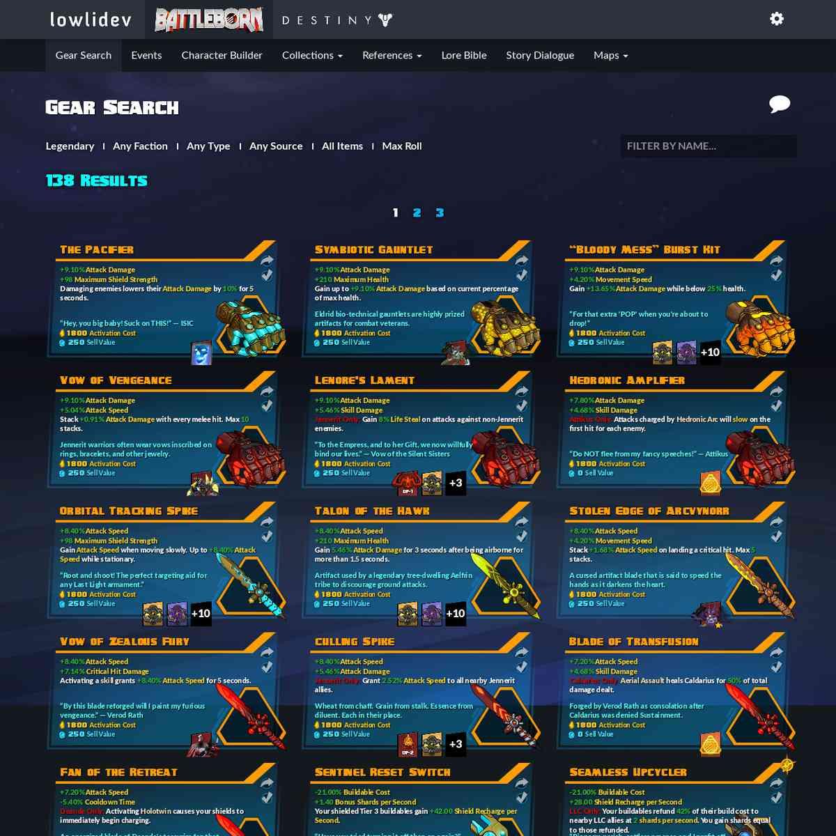 Gear Search - Battleborn | lowlidev