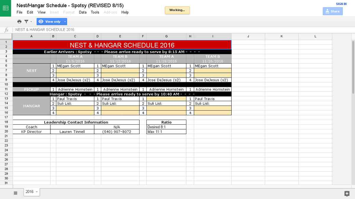 Nest/Hangar Schedule