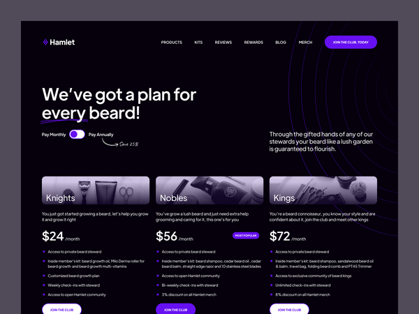 Hamlet. Pricing Page