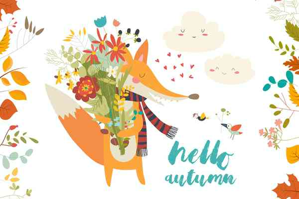 $ Lovely autumn card with a fox and flowers