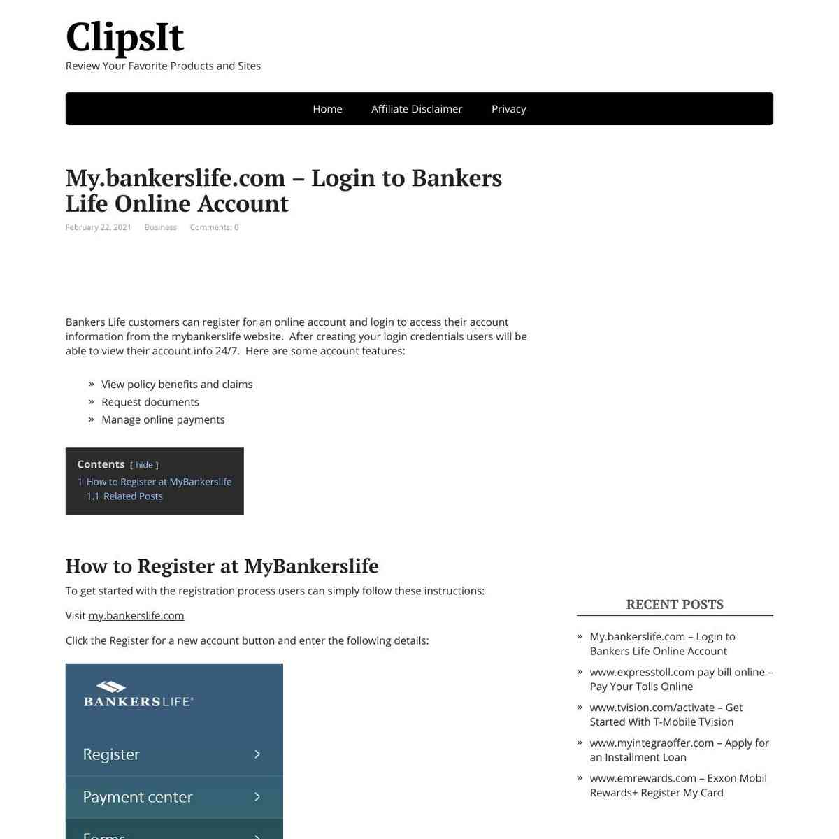 My Bankers Life Online Account