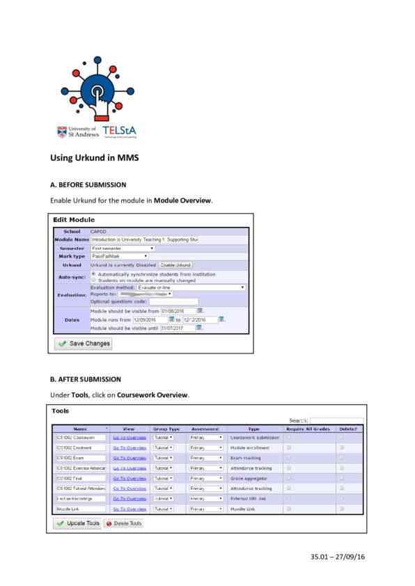 Using Urkund in MMS