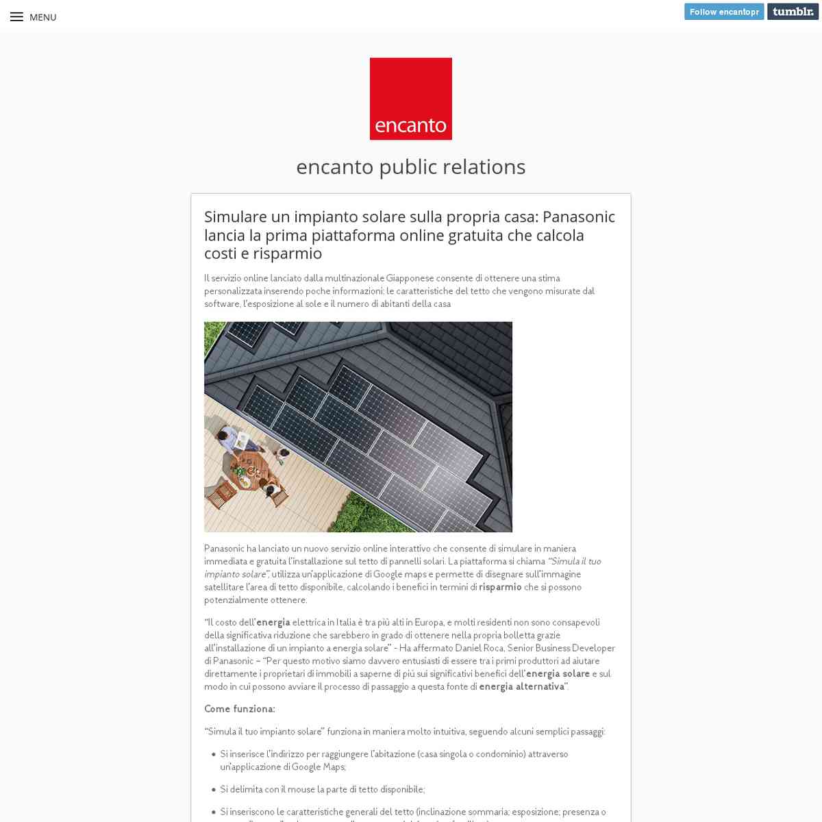 Panasonic Energia Solare: Simulare un impianto solare sulla propria casa