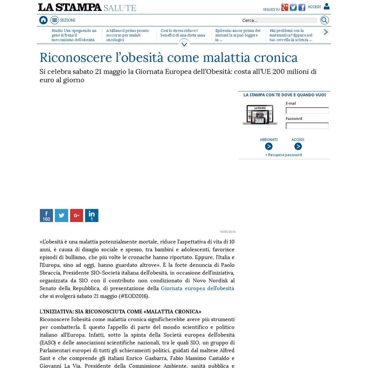 Riconoscere l'obesità come malattia cronica - La Stampa - 19/05/2016