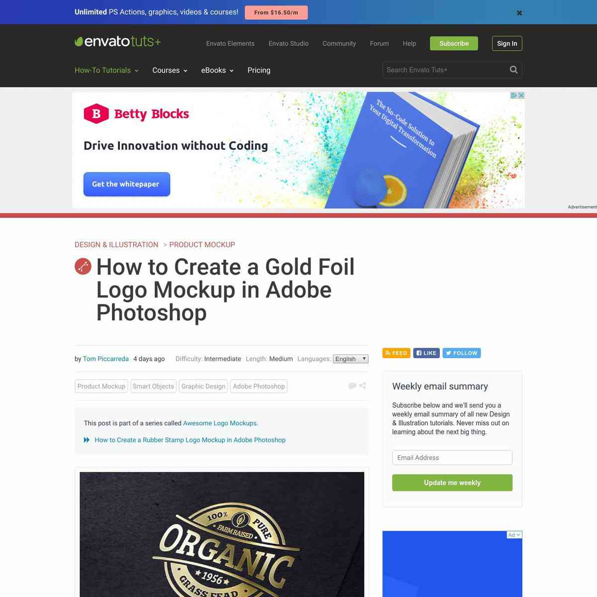 How to Create a Gold Foil Logo Mockup in Adobe Photoshop