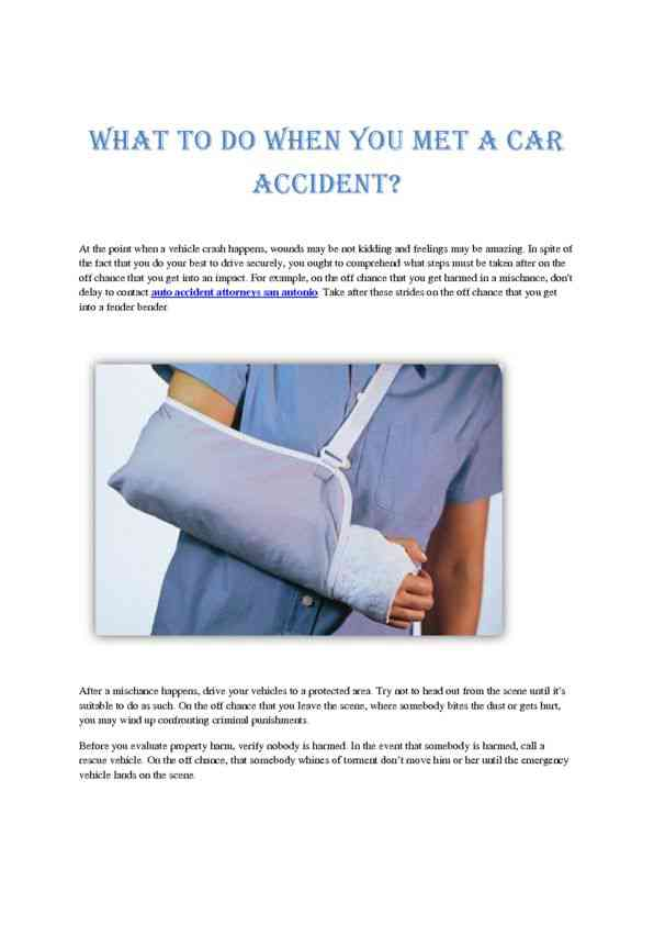 What to do When You Met a Car Accident