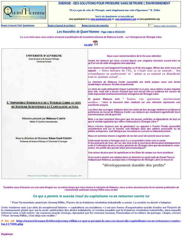 ENERGIE Libre Mémoire de Rébecca Carité