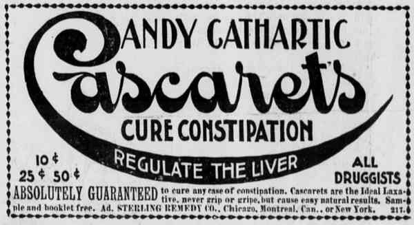 Cascarets constipation drug