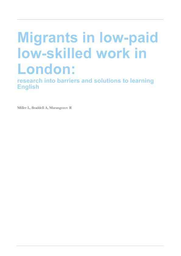 Migrants in low-paid low-skilled work in London: research into barriers and solutions to learning E…