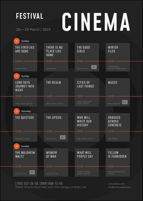 $ Film Festival Schedule Poster