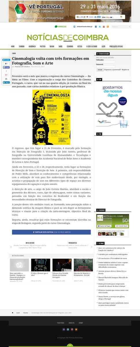 Cinemalogia volta com três formações em Fotografia, Som e Arte | Notícias de Coimbra