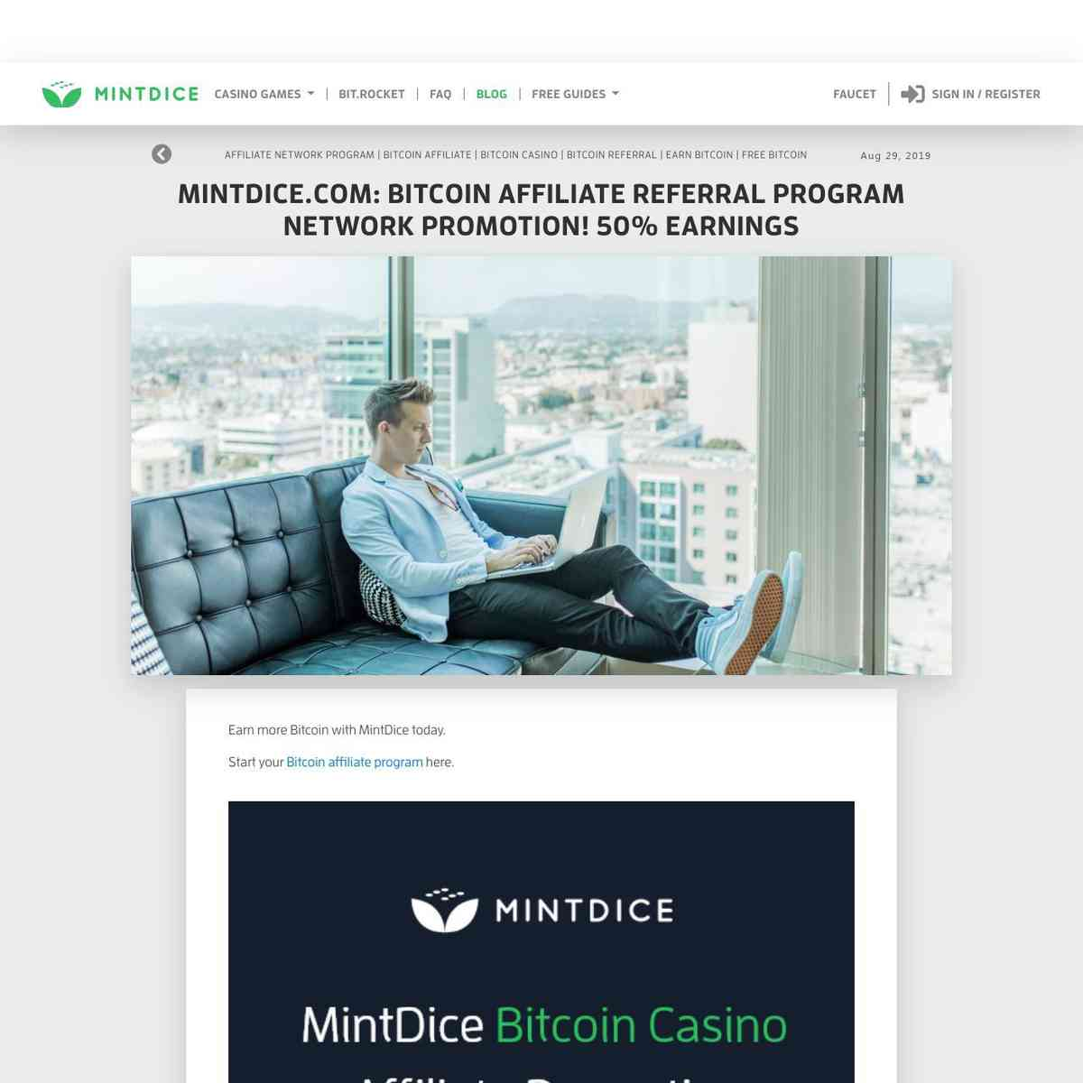 MintDice.com: Bitcoin Affiliate Referral Program Network PROMOTION! 50% Earnings