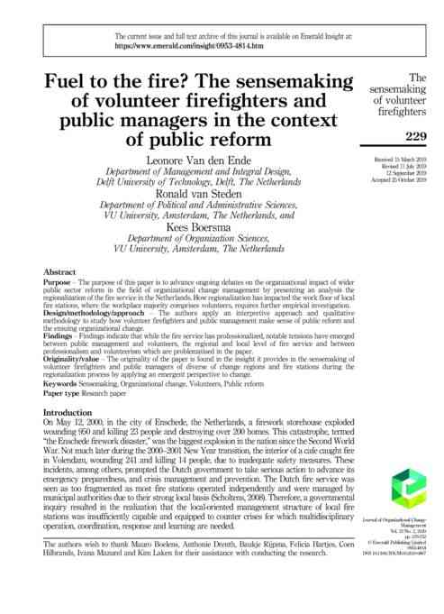 RESEARCH ARTICLE: Fule to the fire? The sensemaking of volunteer firefighters and public managers i…