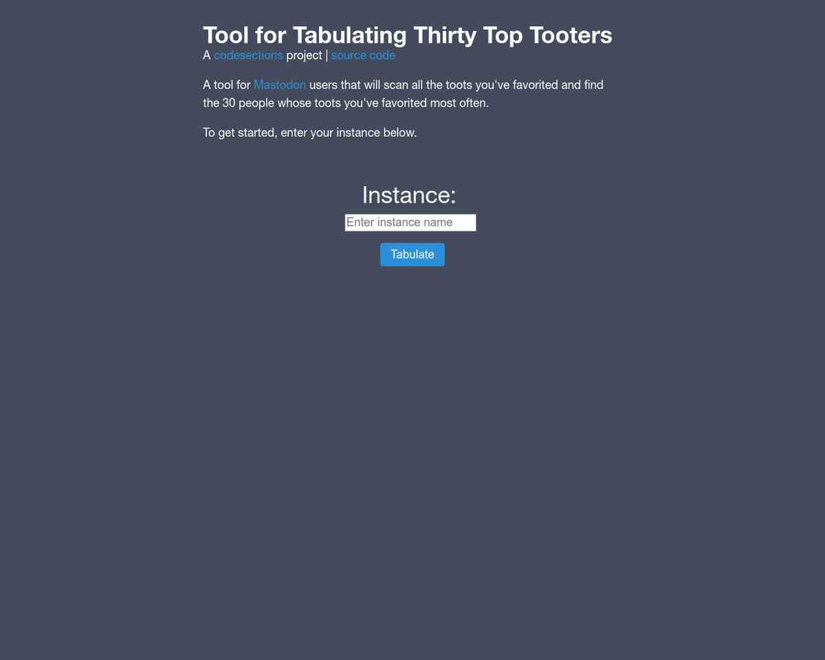 Tool for Tabulating Thirty Top Tooters - View your favorite Mastodon users