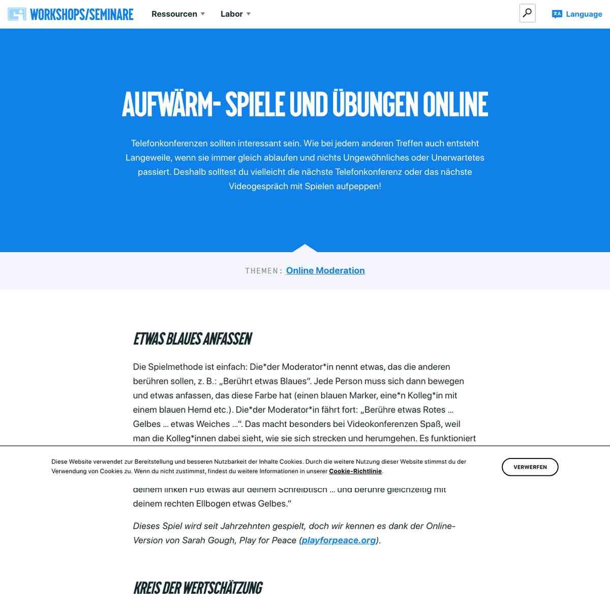 Workshops/Seminare – Aufwärm- Spiele unD übungen online