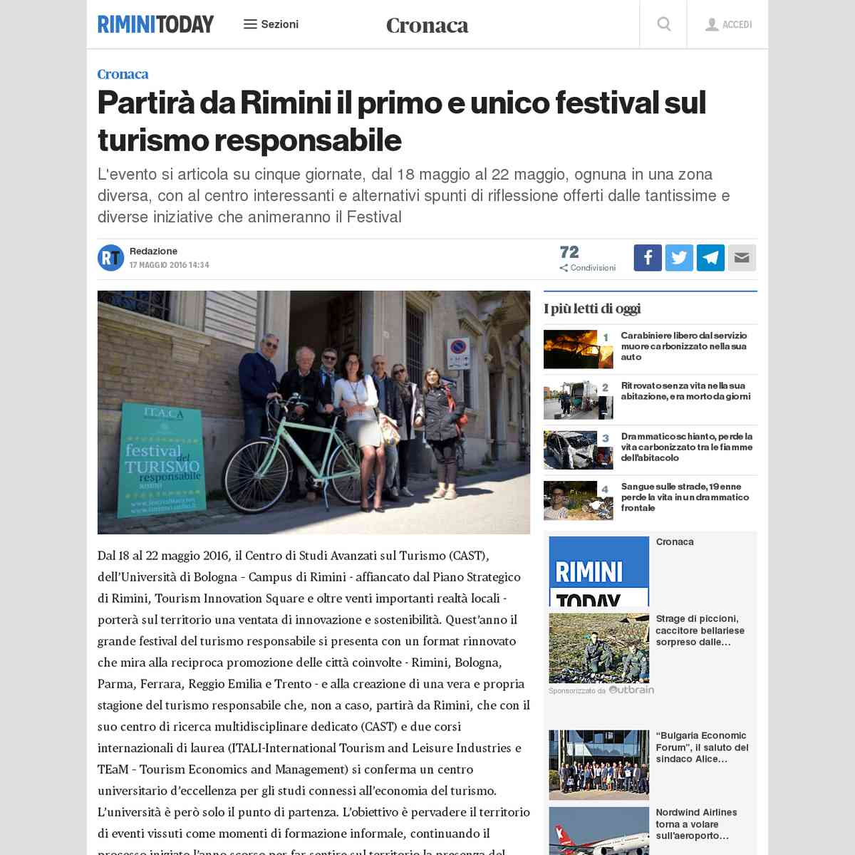 Partirà da Rimini il primo e unico festival sul turismo responsabile - Rimini Today - 19/05/2016