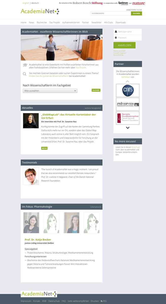 AcademiaNet - die Datenbank für exzellente Wissenschaftlerinnen