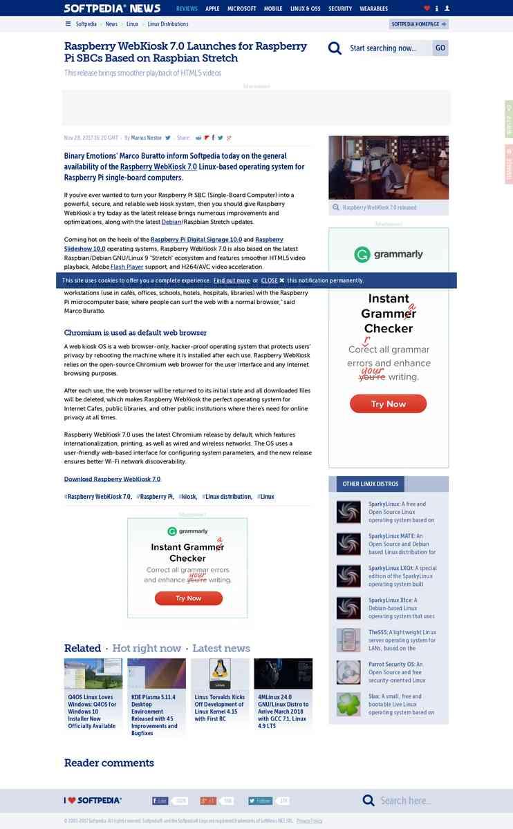 Softpedia // Raspberry WebKiosk 7.0 Launches for Raspberry Pi SBCs Based on Raspbian Stretch