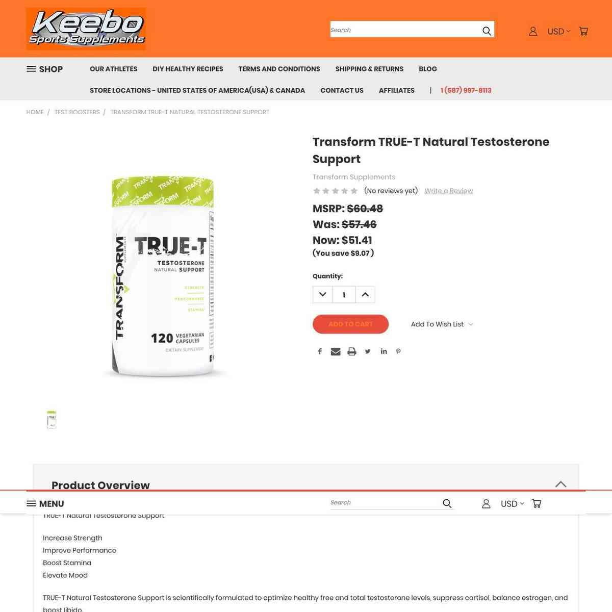 Transform TRUE-T Natural Testosterone Support
