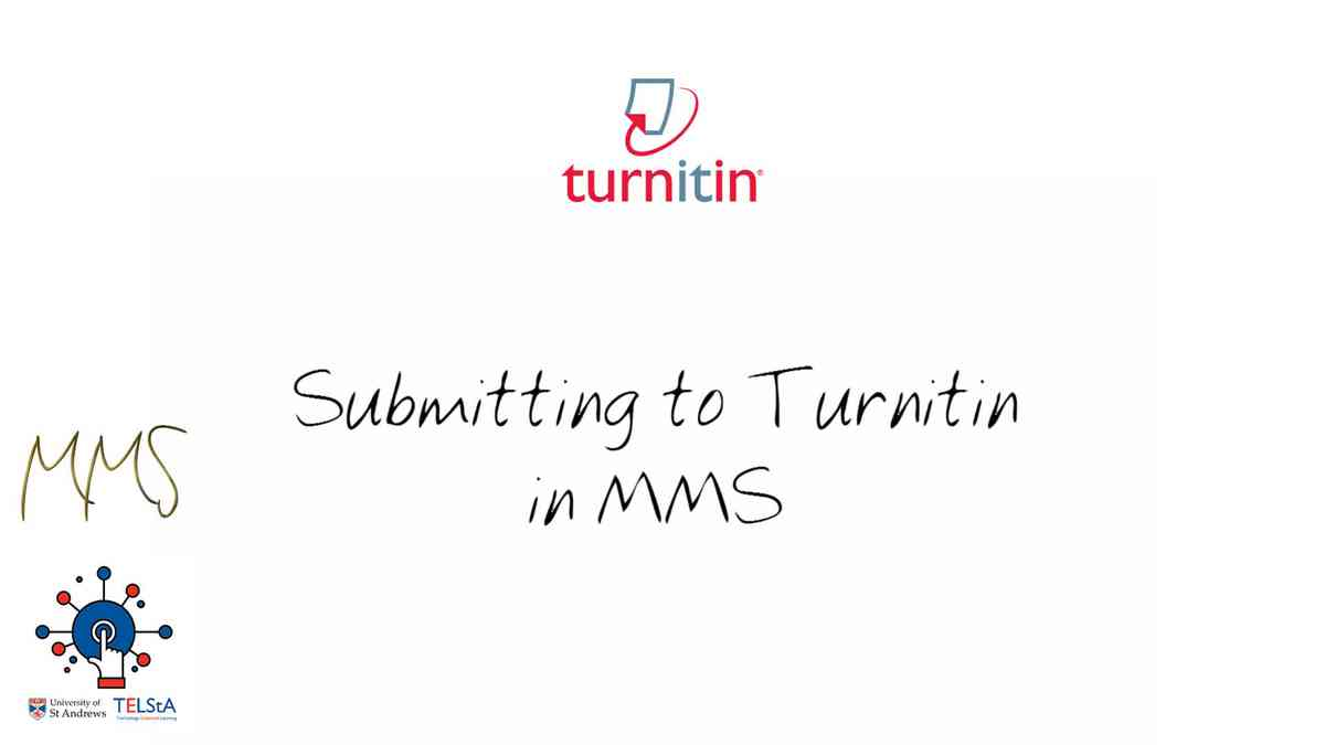 Submitting to Turnitin in MMS