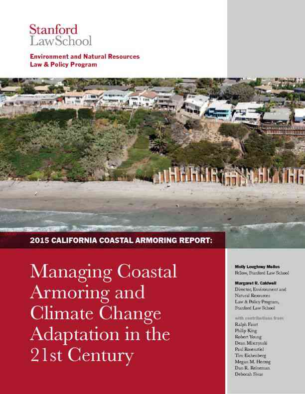 California Coastal Armoring Report: Managing Coastal Armoring and Climate Change Adaptation in the …