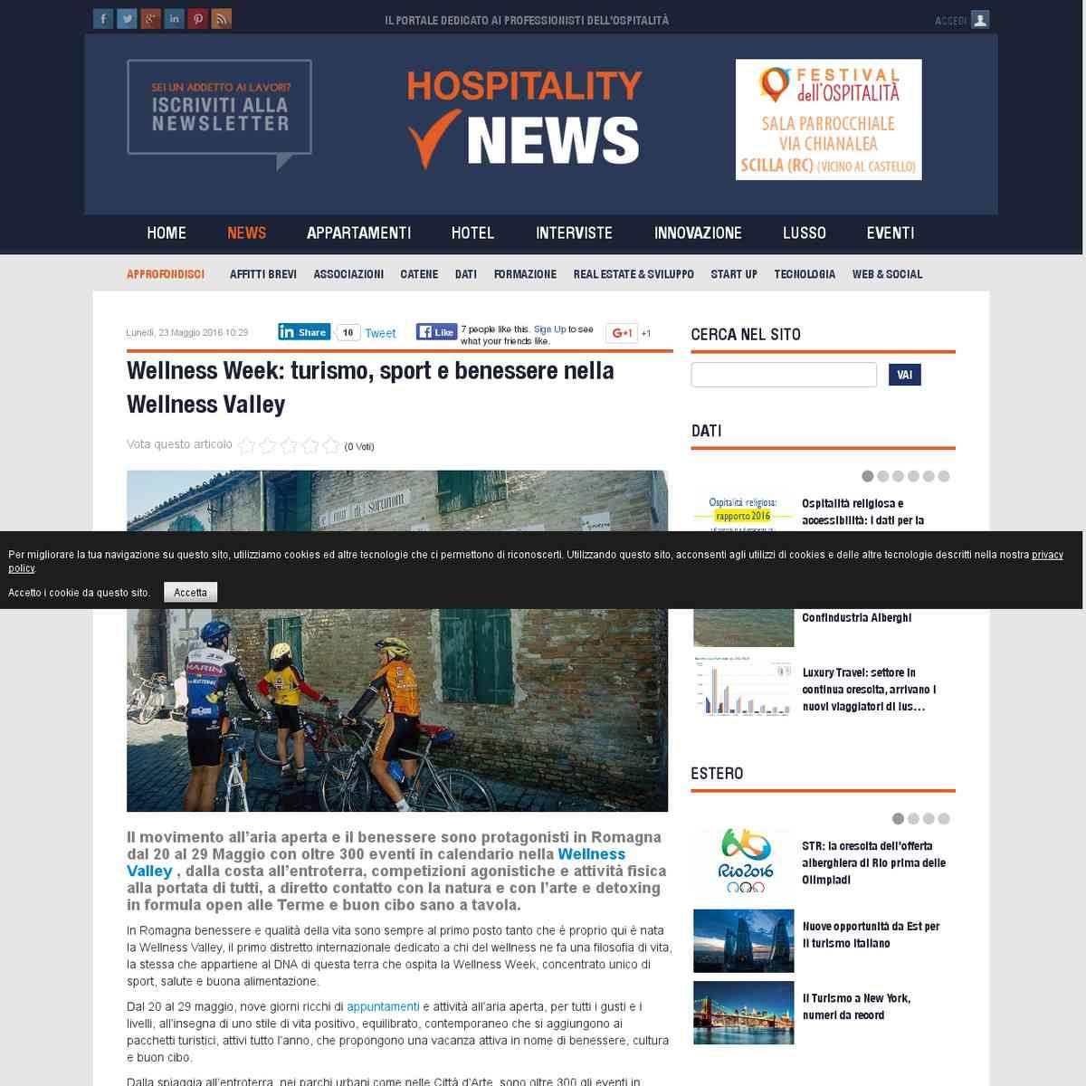 Wellness Week: turismo, sport e benessere nella Wellness Valley - Hospitality News.it - 23/05/2016