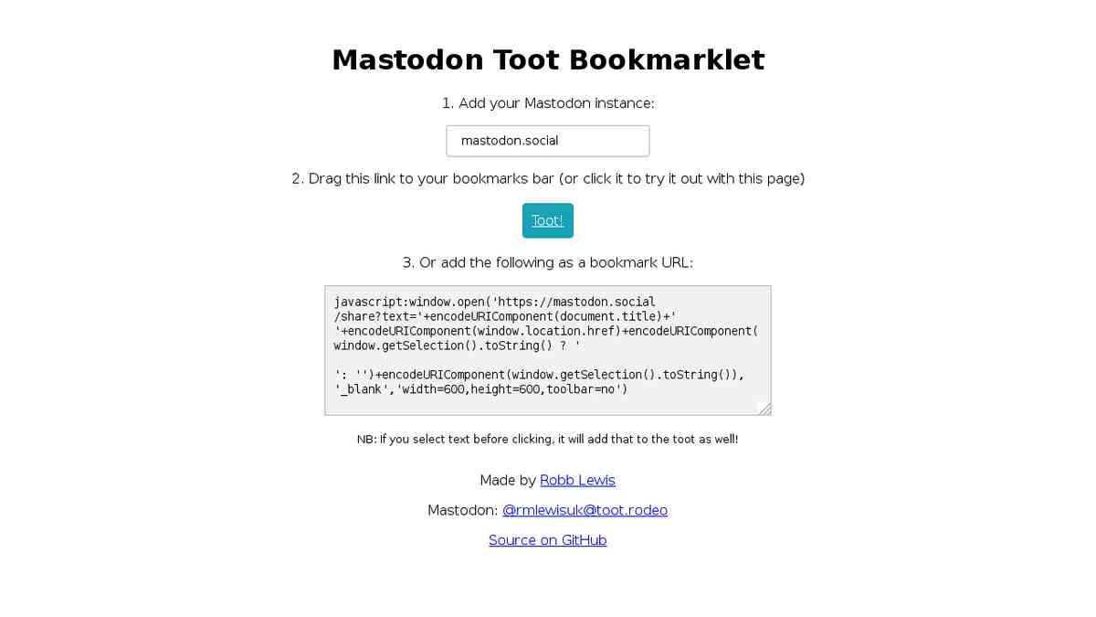 Mastodon Toot Bookmarklet