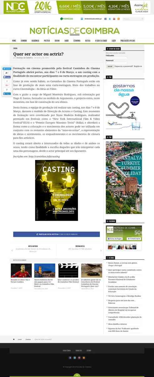 Quer ser actor ou actriz? | Notícias de Coimbra