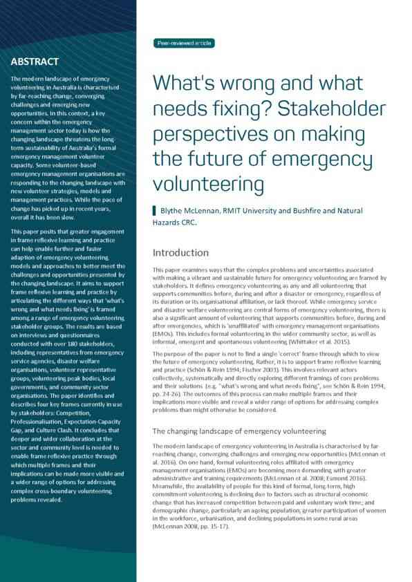RESEARCH ARTICLE: What's wrong and what needs fixing? Stakeholder perspectives on making the future…