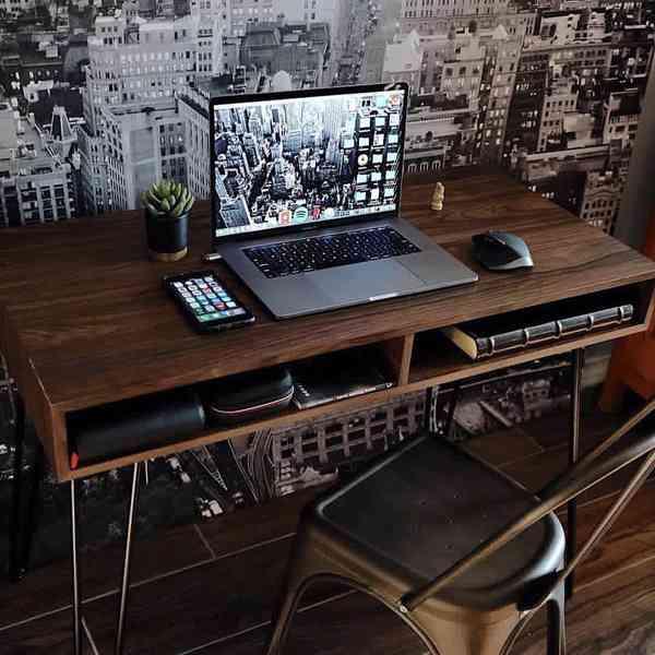 """Setup & Desk inspiration on Instagram: """"Dark Wooden Desk Vibes 💻! ________ Source: @thecollect…"""
