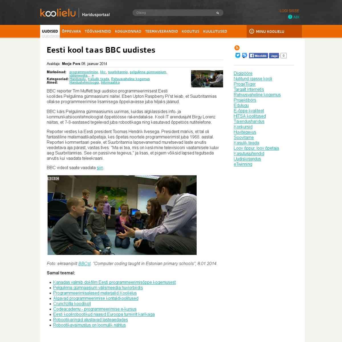 Eesti kool taas BBC uudistes : Koolielu