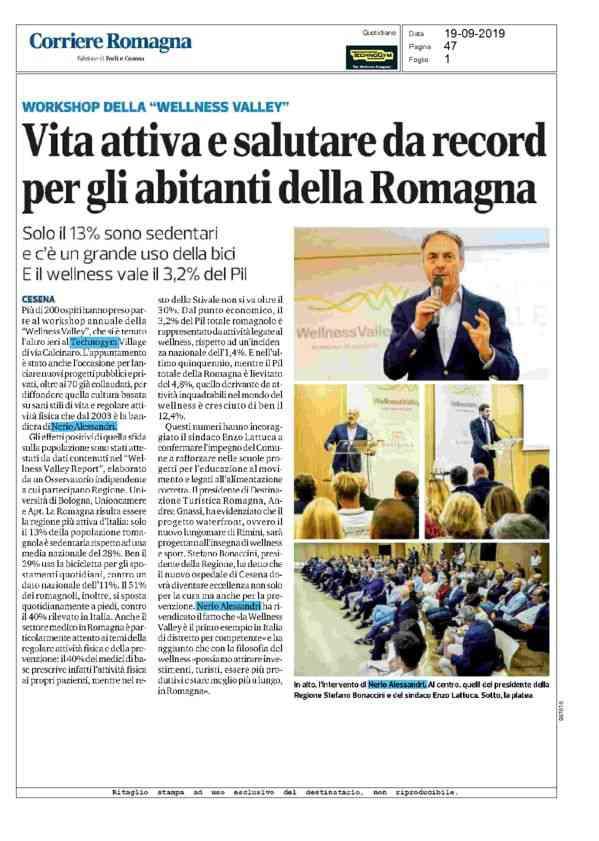 2019-09-19 CorriereRomagna_ Vita attiva e salutare da record per gli abitanti della Romagna
