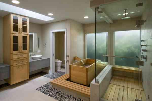 wood soaking tub and shower floor