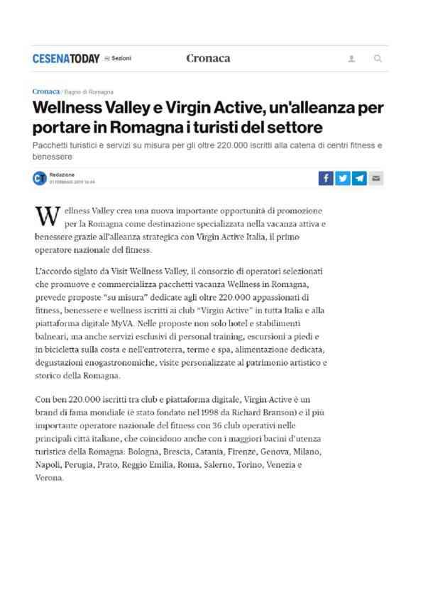 2019-02-01 Cesenatoday_Wellness Valley e Virgin Active, unalleanza per portare in Romagna i turisti…