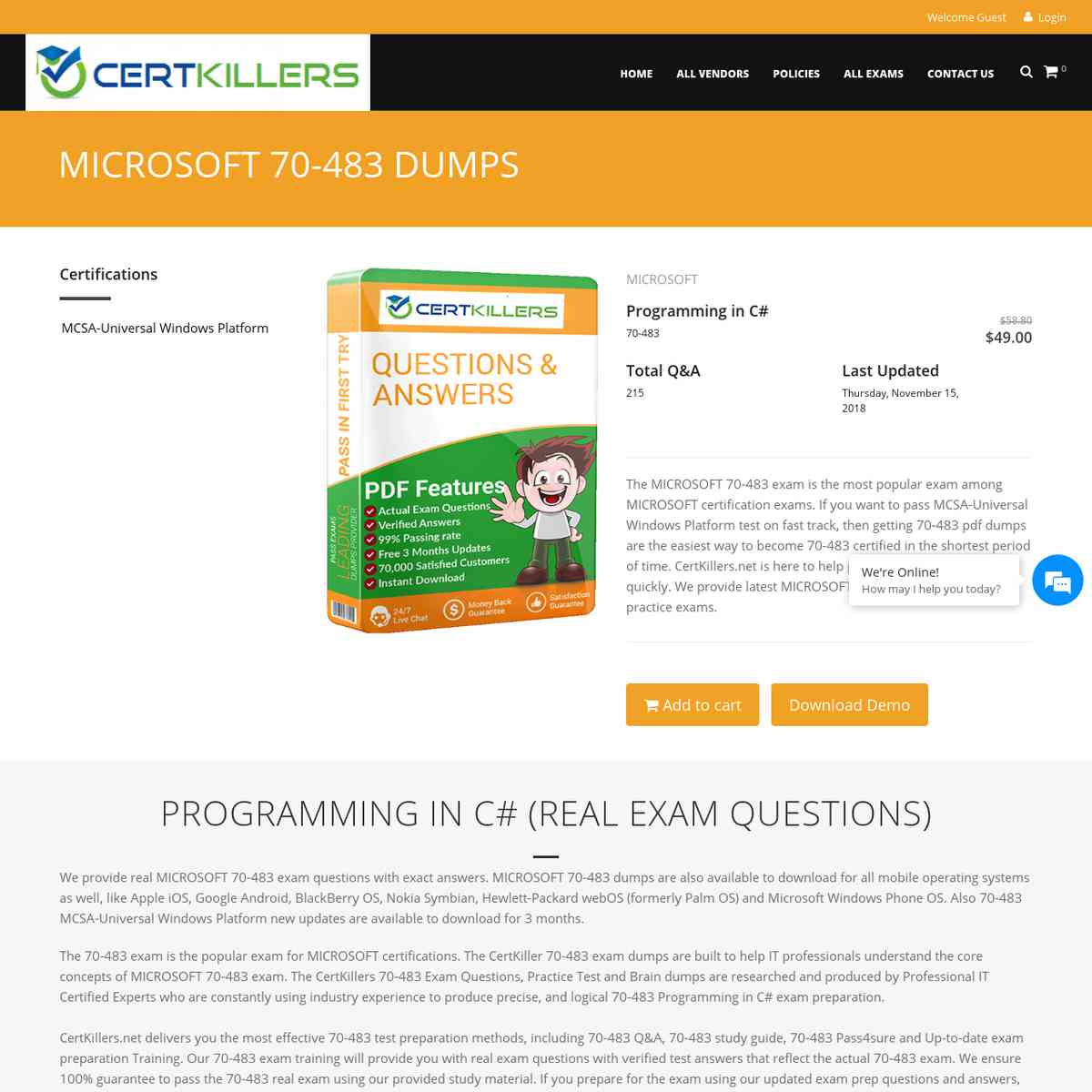 Only CertKillers.net 70-483 bootcamp are needed to pass | pdf download | exam prep
